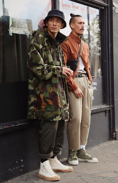 rabbithole london image novesta wide leg camo jacket bucket hat top knot
