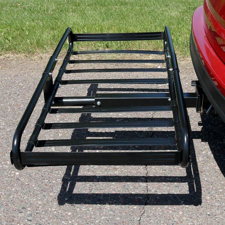 Sunnydaze Basket Hitch Mounted Cargo Rack & 2 Inch Receiver - 500 Pound Capacity, Black