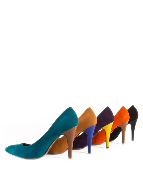 Two-colour high heel suede pumps. 5 color combinations. Heel height: 11cm. #fw13 #fashion #womensfashion #pumps #highheels #shoes #suede