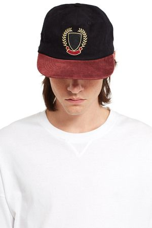 Embroidered Contrast Flat bill Baseball Cap In Black (With