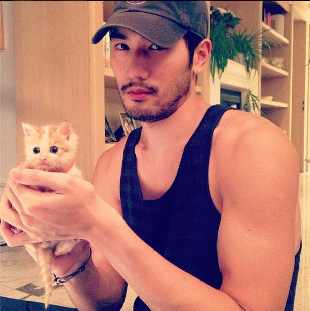 Godfrey Gao - and he rescues stray kittens. #instagram #eyecandy #hotguys