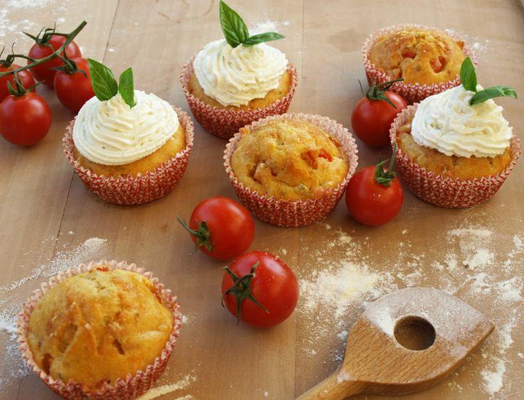 Basil, tomato and mozzarella muffin