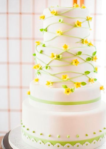 delicate yellow flowers with green leaves for a summer wedding
