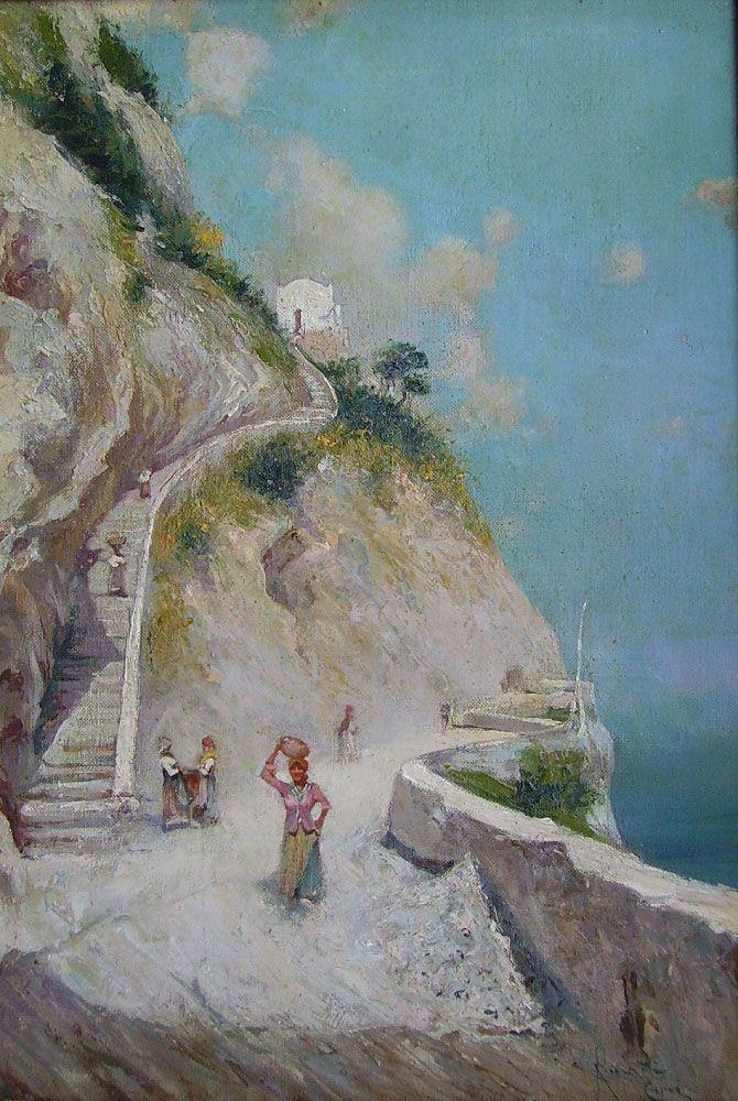 Oscar Ricciardi (Napoli, 1864 - 1935) -  ...   image OSCAR RICCIARDI Titolo: CAPRI Olio su tela applicata su tavola, 40 x 27 cm