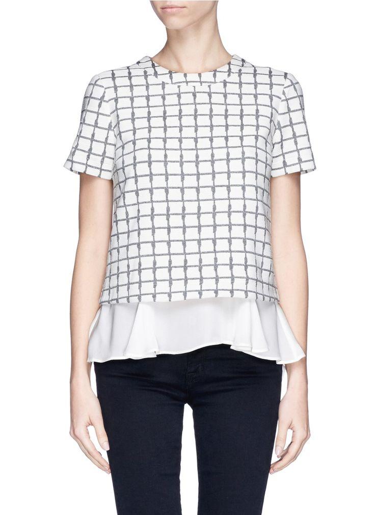 ELIZABETH AND JAMES - 'Grid Tierney' jacquard ruffle layer top - on SALE   Multi-colour Short Sleeve Tops   Womenswear   Lane Crawford - Shop Designer Brands Online