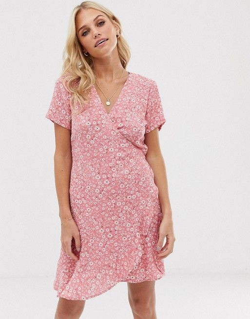 7d22a6fd1005 Stradivarius wrapped short dress in Pink in 2019 | DRESS | Wrap ...