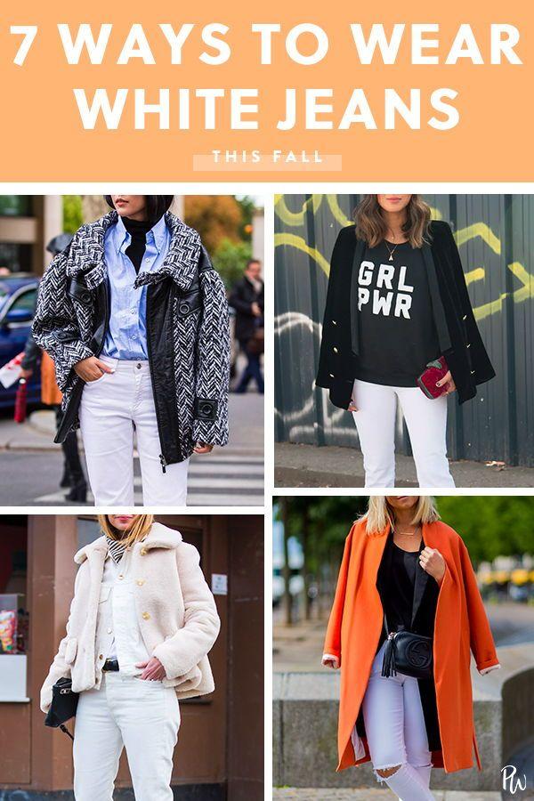 81e9042b8f8 7 Ways to Wear White Jeans This Fall  purewow  outfitideas  shoppable   shopping  fall  fashion  denim  whitejeans  fallfashion  fallstyle