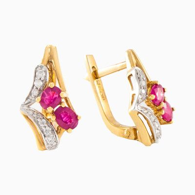 A fine pair of ruby with total weight 0.30ct and diamond earrings, made entirely by hand in 18k yellow gold. Perfectly polished diamonds are in the parts of white gold with a total weight 0.10ct. Completely excellent and very practical ruby and diamond earrings.
