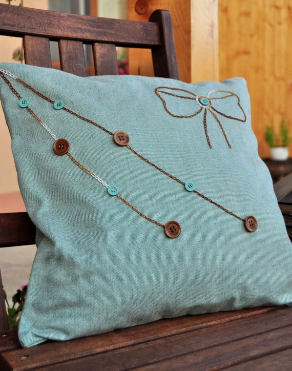 Embroided bow pillow case by AliCards on Etsy,$17