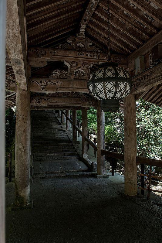 Traditional staircase at Hase-dera temple Sakurai, Nara, Japan