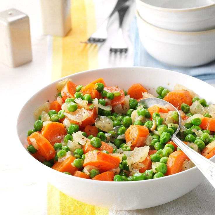 Honey-Butter Peas and Carrots Recipe -This classic combination of peas and carrots is enriched with a handful of flavor enhancers. Slow cooking allows the ingredients to meld for maximum richness. —Theresa Kreyche, Tustin, California
