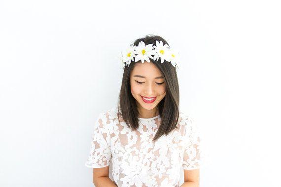 daisy chain flower crown / festival floral headband by kisforkani