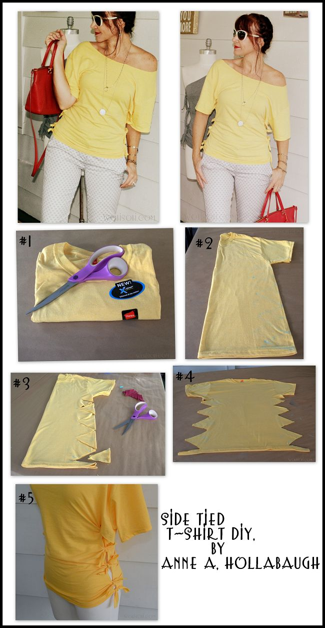 wobisobi side tied shirt diy - T Shirt Cutting Designs Ideas