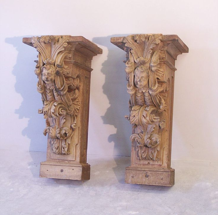 Pr 17th to 18th century architectural carved wood corbels for Decorative corbels interior design