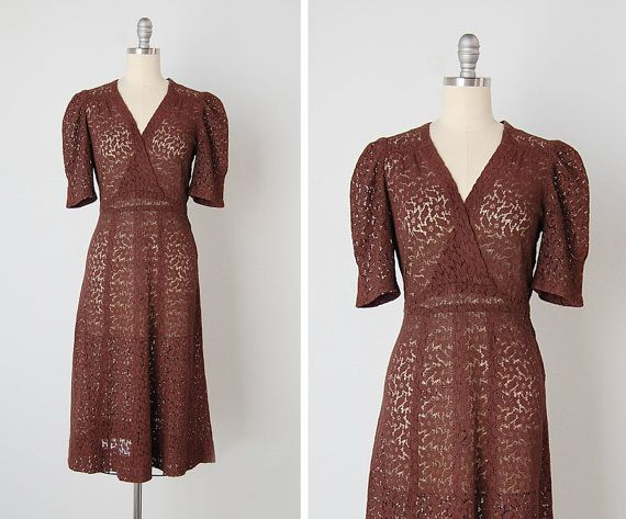 vintage 1930s dress / 30s lace dress / brown lace by cutxpaste