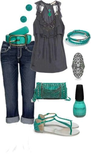 This is a really cute outfit for a summer day! I love how all of the blue turquoise colors are incorporated in with the gray.