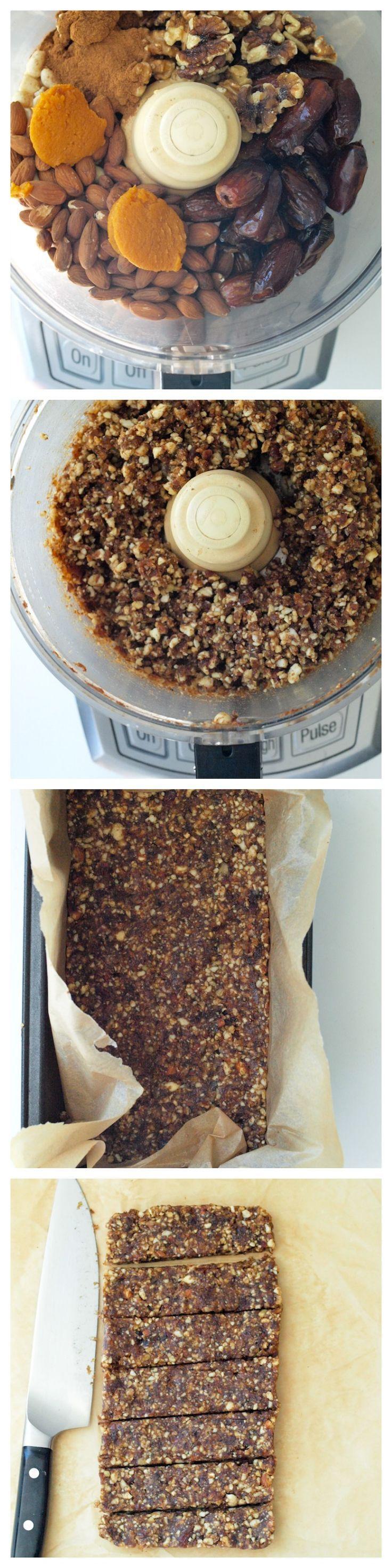 Pumpkin Spice Energy Bars.  Quick, easy, and healthy no bake snack recipe.