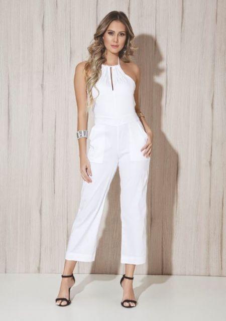 441acc3d0 macacao-pantacourt-branco-4 | FASHION em 2019 | Jumpsuit, Fashion ...