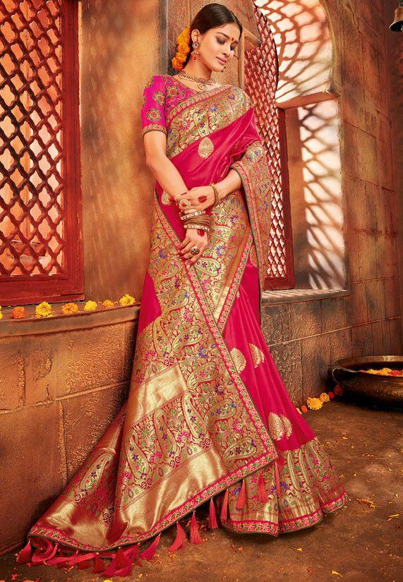 12b3fbdd3f Rani Pink Pure Banarasi Saree   Saree   Saree, Silk saree banarasi ...