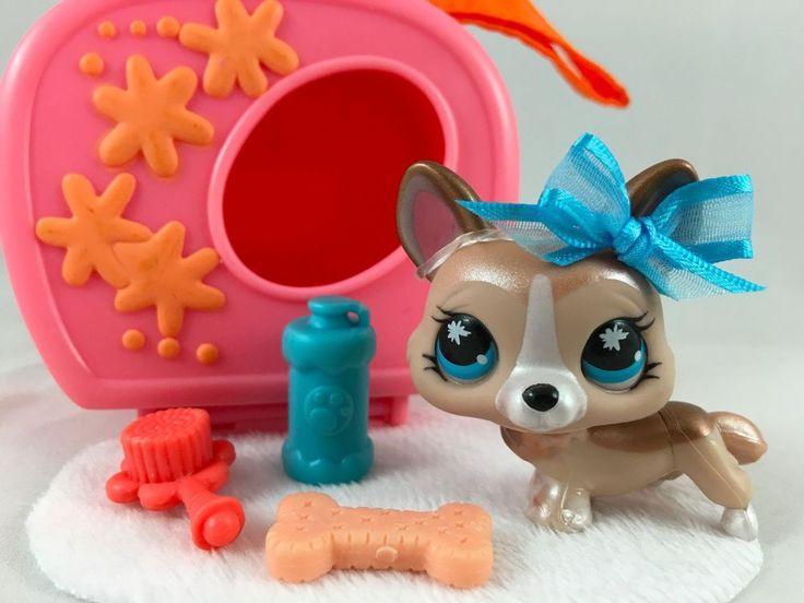 Littlest Pet Shop Cute Bronze Shimmer Corgi #871 w/Carrier & Accessories…