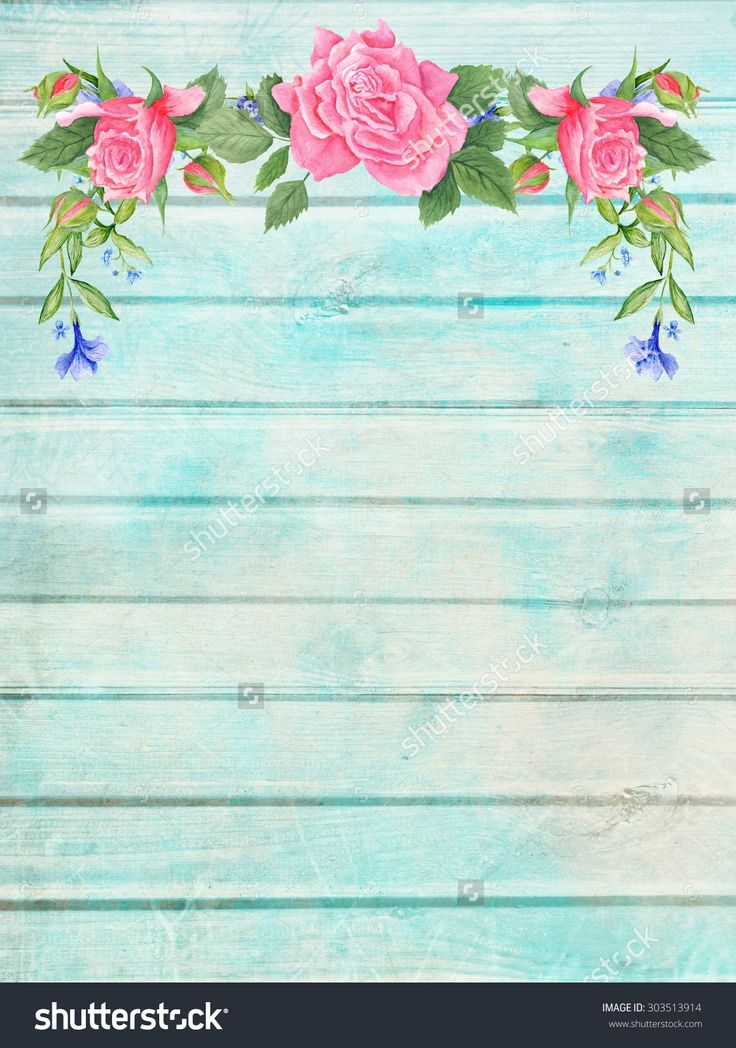 Shabby Chic Wood Background With Floral Vignette   Vintage Plank ...