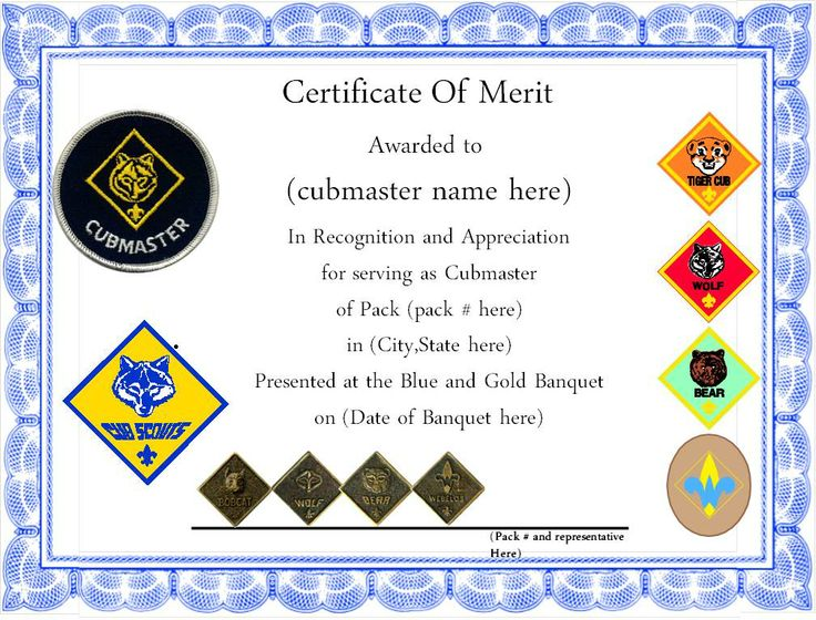 Simple appreciation certificate to give to leaders, cubmaster ...
