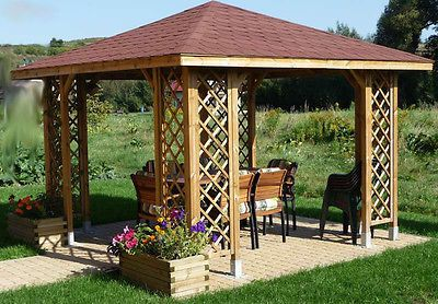 3m x 3m (Ex 3.5m x 3.5m) GARDEN WOODEN PAVILION GAZEBO PATIO (MADE IN EU - FSC)