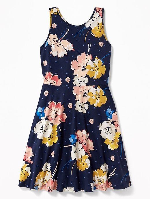 bdace1903 Patterned Fit   Flare Jersey Sundress for Girls
