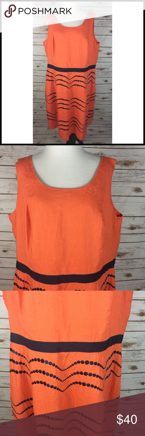 Boden Sz 18 L Long Orange Linen Dress Embroidered Boden Sleeveless Fit & Flare Dress Orange w/ Navy Blue Accents/ Embroidery Women's Size 18L LONG  Gently used - no stains or tears 100% Linen Lining - Cotton  Crisp and comfy sleeveless linen dress Zips up back Fit & flare style Fully lined Scoop neck Knee length on a tall person - please see measurements below Ribbon trim around waist Embroidered polka dot / wave pattern  Chest (armpit to armpit) - 23.75 Waist (side to side) 20.75 Strap…