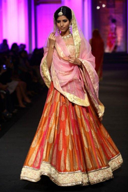 Shaes of pink and orange lehnga - Meera & Muzaffar Ali