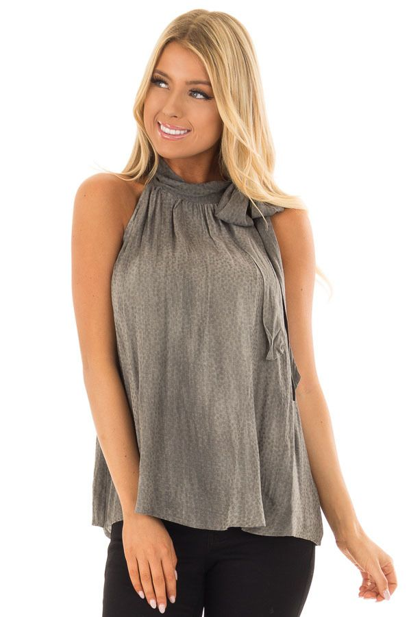 Lime Lush Boutique - Charcoal Polka Dot Tank Top with Neck Tie Detail, $38.99 (https://www.limelush.com/charcoal-polka-dot-tank-top-with-neck-tie-detail/)