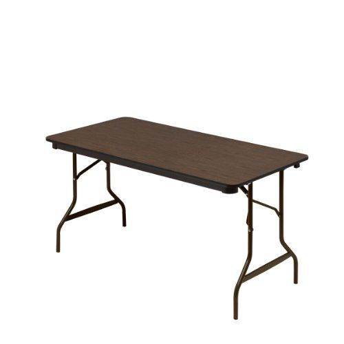 Iceberg Economy Wood Laminate Folding Table with Brown Steel Legs, Walnut