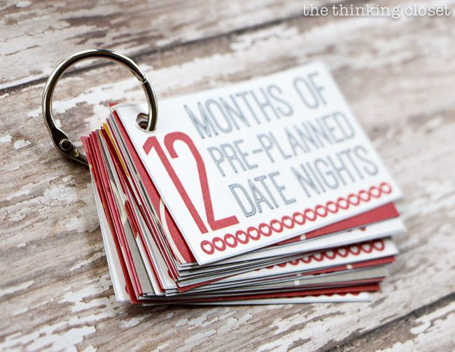 12 Months of Date Nights Gift & Free Printable! Such a cute idea from @thethinkingcloset! @Jennifer Hunter maybe you could do this for Scottie??
