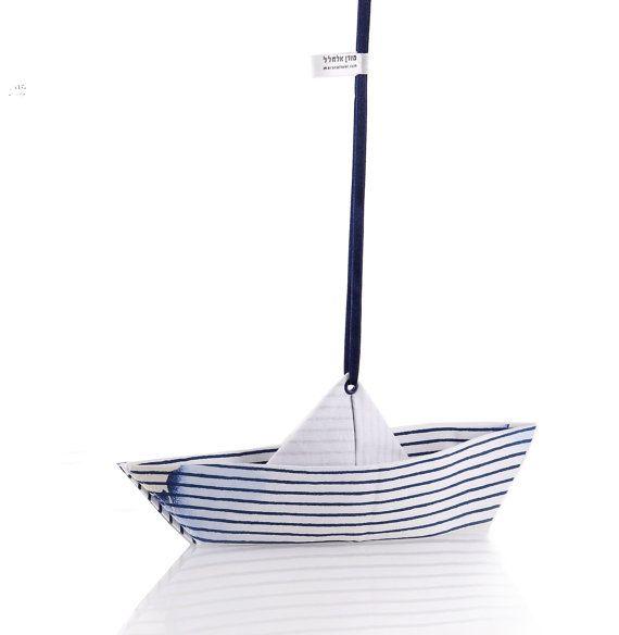 Origami barca casa mobile arredamento, grande ornamento in blu e bianco modello Tie Die, spedizione gratuita