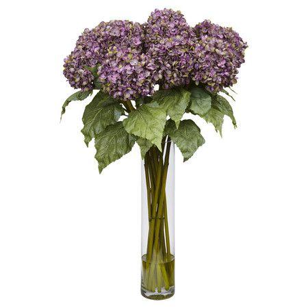 Found it at Wayfair - Hydrangea Silk Flower Arrangement in Purple