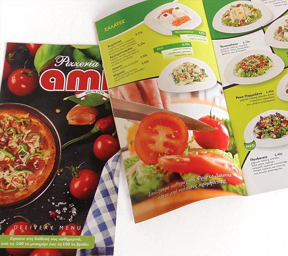 Design & Printing of the Delivery Flyers of Ami Pizzeria by ThinkBAG.