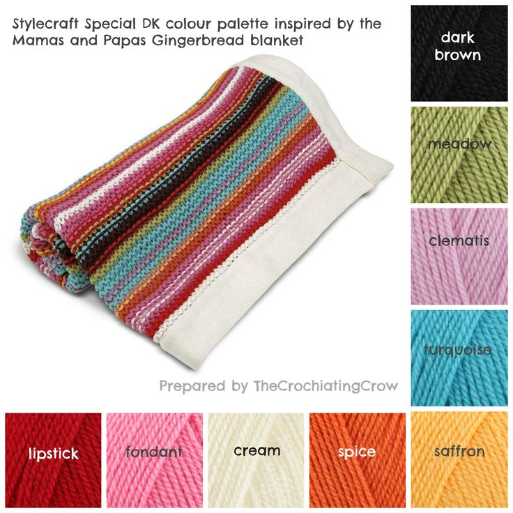 Stylecraft Special dk colour palette inspired by the Mamas&Papas Gingerbread blanket.