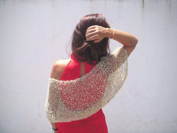 Knit gold shrug, wedding shawl