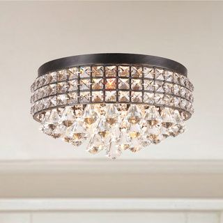 Jolie Iron Shade Crystal Flush Mount Chandelier - 16276264 - Overstock.com Shopping - Big Discounts on The Lighting Store Flush Mounts