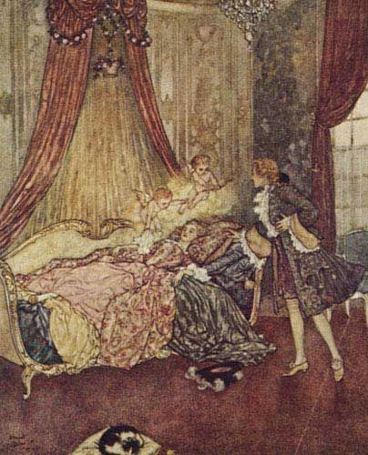These illustrations came from:    Quiller-Couch, Sir Arthur. The Sleeping Beauty and Other Tales From the Old French. Edmund Dulac, illustrator. New York: Hodder & Stoughton, 1910.
