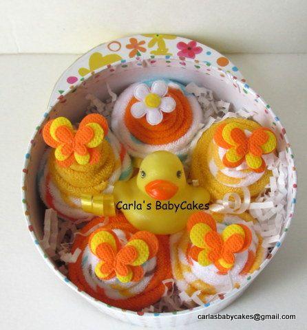 Infant Washcloth Cupcakes Gift Set New Mom by MsCarlasBabyCakes