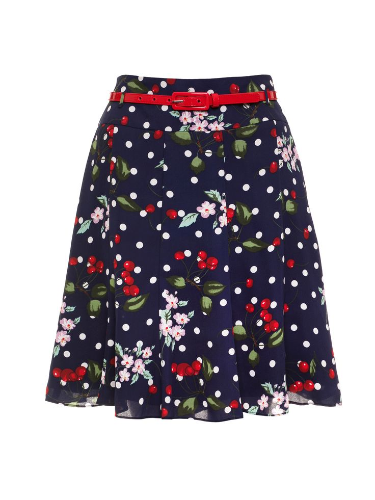 Cherry Floral Skirt| Navy and Multi | Skirts
