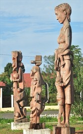 These three totem like wooden carvings are located in the center of Sao Tome, capital city of the second smallest country in Africa: Sao Tome and Principe.