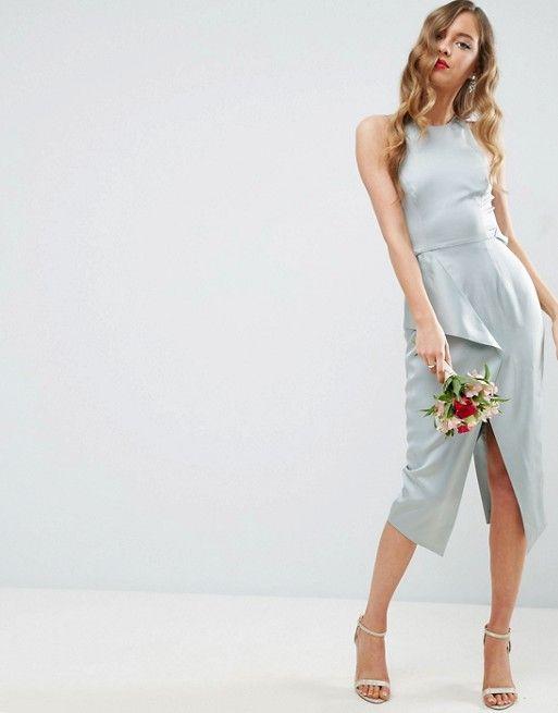 ASOS | ASOS WEDDING Cami Drape Back Pencil Midi Dress