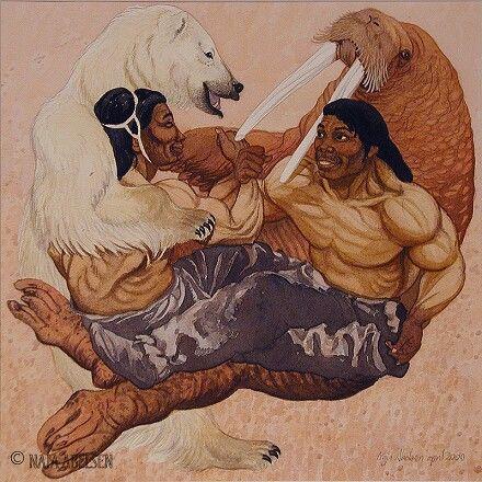 "From a myth: a Walrus and a Polar Bear playing. Watercolour by Naja Abelsen. Illustration from ""Grønlandske Myter og sagn, Sesam publishing. 2000. GREENLAND MYTHOLOGY - www.123hjemmeside.dk/NajaAbelsen. Original for sale. Available as A3-photoprint 400 DKK / 54 Euro."