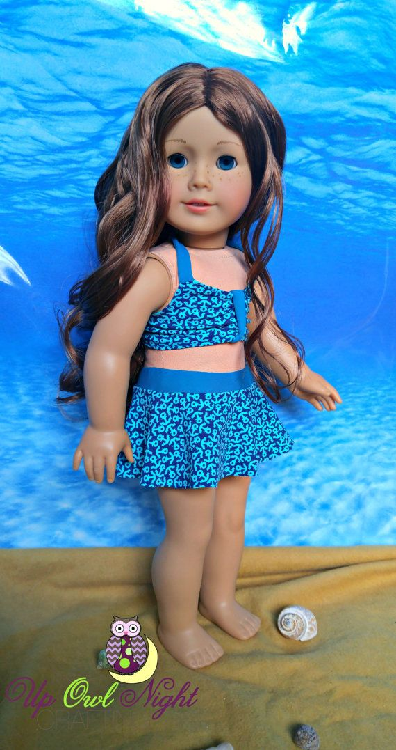 Anchors aweigh 2 piece bathing suit by upowlnightcrafting on Etsy. Made from the Sun Bathing Cutie pattern, available at http://www.pixiefaire.com/products/sun-bathing-cutie-18-doll-clothes. #pixiefaire #sunbathingcutie