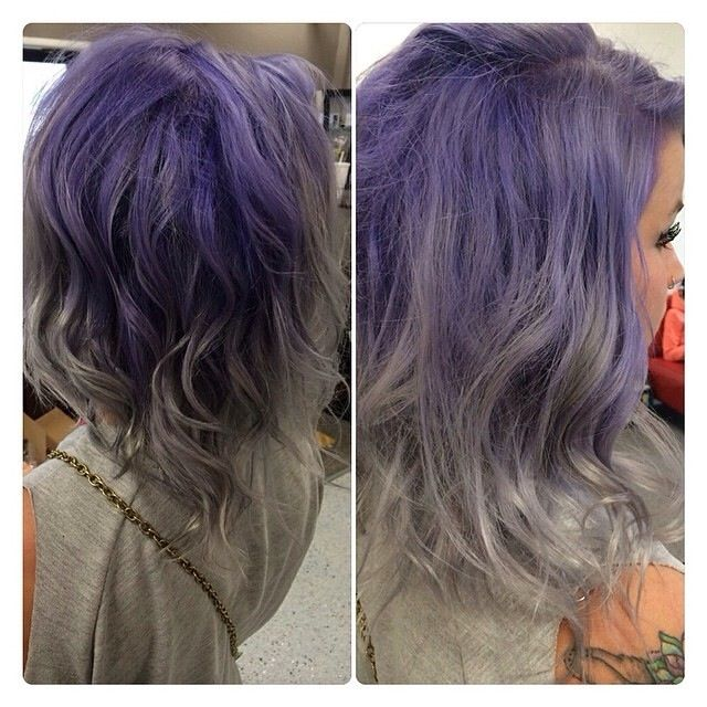 Violet purple and gray ombre hair. Soo pretty