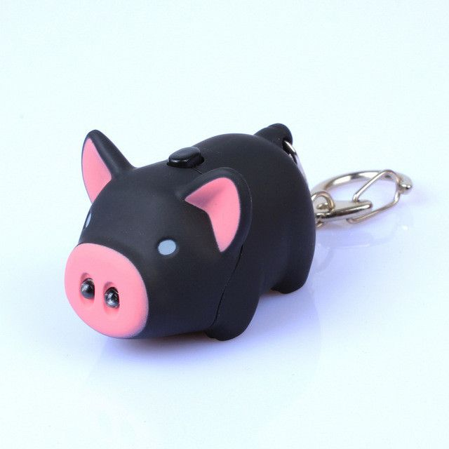 Cartoon Little Pig Design LED Keychain with Sound Flashlight Kid Emergency torch Animal pig Keyring Wholesale