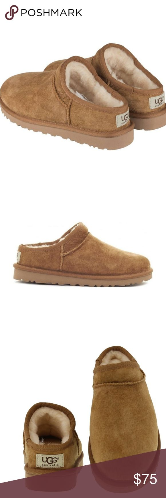 """10/20 ONLYUGG CLASSIC SLIP ON SLIPPER UGG ✔% AUTHENTIC! NEW NEW NEW!!! (NO TAGS-STICKERS ON BOTTOM/NO BOX) COLOR CHESNUT SIZE VARIOUS CLASSIC CLEAN LOOK! TONAL MOCCASIN STITCHING DETAIL TRUE TO SIZE(WILL BREAK IN AND STRETCH TO FOOT) ROUND TOE,WATER RESISTANT SUEDE CONSTRUCTION,SLIP ON,UGGPURE LINING APPROX HEEL 1""""/.5"""" PLATFORM EVA SOLE -STURDY FOR OUTDOOR WEAR! GREAT FOR ANY WARDROBE ANY TIME OF THE YEAR! *NO TRADES NO RETURNS PLEASE* UGG Shoes"""