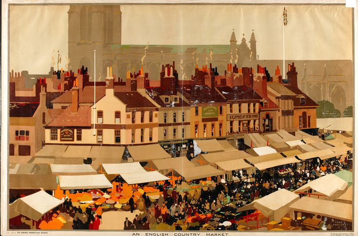 An English Country Market by Fred Taylor for the Empire Marketing Board
